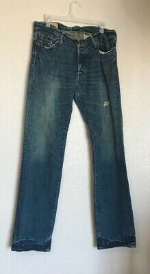 Abercrombie & Fitch Mens Jeans Distressed Button Fly Remsen Low Slim 32 X 34