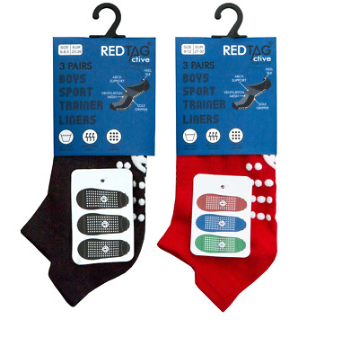 Boys Kids Pack of 3 Sport Trainer Liners Socks Active Sports Size 4-14 Years