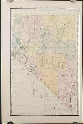NEVADA RAILROADS / Rand McNally & Co.'s Business Atlas Map of Nevada 1892
