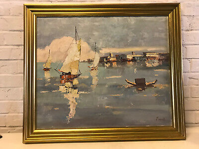 Vintage Italian Signed Marinelli Oil on Canvas Impressionist Painting Seascape