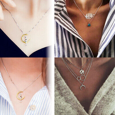 Women Hot Retro Moon World Map Circle Multilayer Silver Necklace Charm Jewelry
