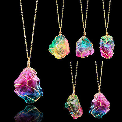 Rainbow Stone Necklace Quartz Pendant Natural Crystal Chakra Rock Chain Jewelry