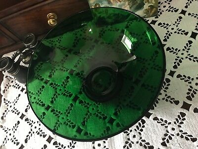 """Vintage Large Round Green  Forest Green Glass Bowl 20.3 cm/8"""" Wide"""
