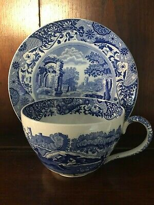 1950's Copeland Spode Blue and White Italian Oversized Jumbo Cup and Saucer