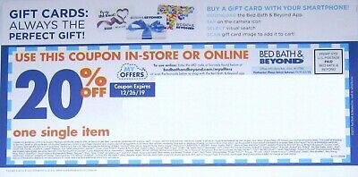 Bed Bath And Beyond Coupon 20% Off 1 Single Item Exp 12-26-19
