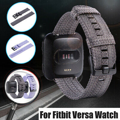 New Woven Canvas Nylon Wristband Wrist Band Strap for Fitbit Versa Smart Watch