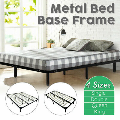 Single/Double/Queen/King Metal Bed Frame Mattress Base Timber Slat Support Home