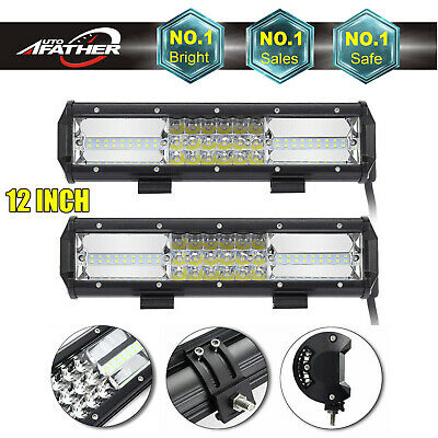 """Pair CREE 12"""" inch LED Work Light Bar Off-road Truck Driving Lamps For SUV Jeep"""
