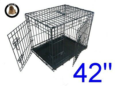 "Ellie-Bo 42"" Extra Large Dog Puppy Pet Cage Folding Carrier Crate In Black"