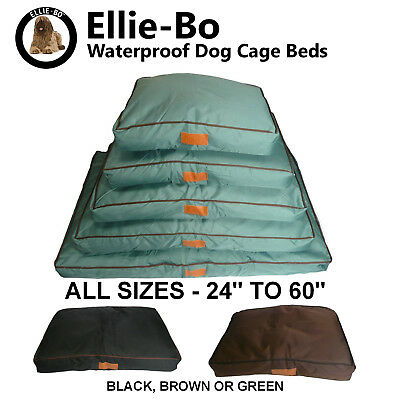 Ellie-Bo Waterproof Dog Cage Crate Beds in Green, Black or Brown - ALL SIZES