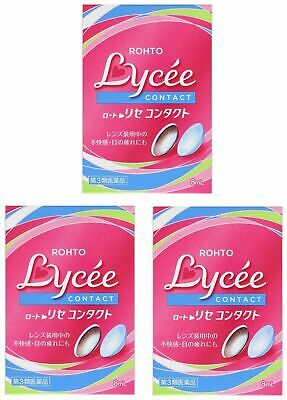 Rohto Lycee Eyedrops lotion Vision care Medicate for Contact lens 8ml x3 Set