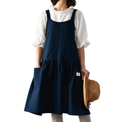 Unisex Apron Men Double Pockets Pinafore Stylish Chef Waitress Bib Work Wear