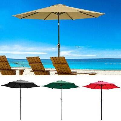 2.5m 2.7m 3m 4m Round Parasol Sun Shade Outdoor Patio Garden Umbrella Crank Tilt