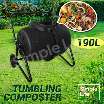 190L Garden Aerated Compost Tumbler Bin Outdoor Recycling Composter Waste Food