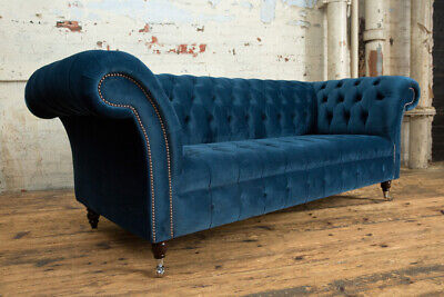 HANDMADE SOFT OCEAN Navy Blue Velvet Chesterfield Sofa, 4, 3 ...