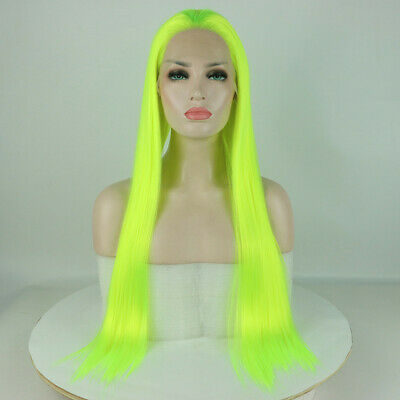 """AU 24"""" Lace Front Wig Handtied Synthetic Hair Long Straight Neon Yellow"""
