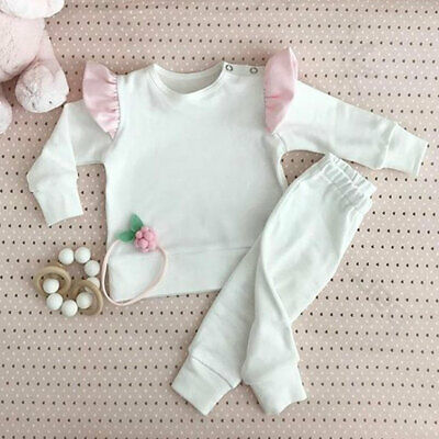CA Kids Newborn Baby Girls Fly-Sleeve Long Sleeve Tops Pants Cotton Clothes Sets