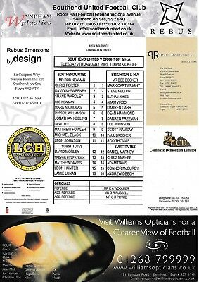 Teamsheet - Southend United Reserves v Brighton & HA Reserves 2000/1 (7 Jan)