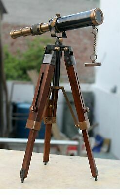 Royal Navy Solid Brass Telescope With Stand Vintage Nautical Maritime Scope Item