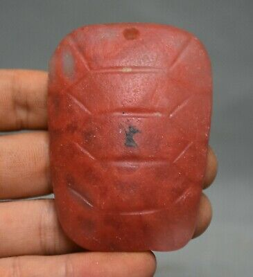 7CM Chinese Hongshan Culture Old red Crystal Hand Carved turtle shell Pendant