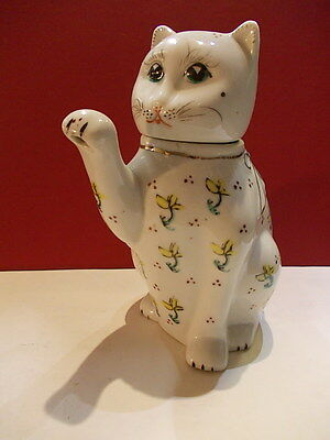 Vintage Chinese china bone  teapot cat with flower printing and gold details