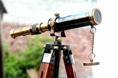 Handmade Solid Brass Nautical Telescope With Tripod Stand Vintage Decor Item