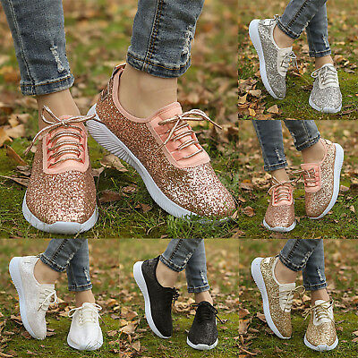 Womens Sequin Glitter Lace Up Trainers Sports Casual Athletic Sneakers Shoes