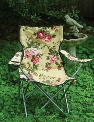 Victorian Trading Co Glamping Chintz Roses Folding Camping Lawn Chair