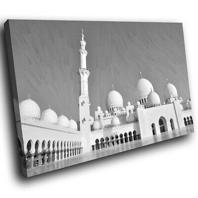 Black White Grand Mosque Scenic Canvas Wall Art Large Picture Prints