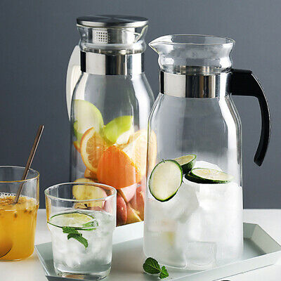 Glass Pitcher Jug Water Juice Carafe Cocktail Stainless Steel Lid Cold/Hot Delux