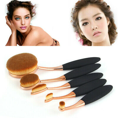 5pcs Set Brush Shape Oval Crystal Makeup Brush Set Professional Foundation