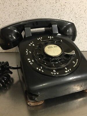 Vintage Telephone Black Plastic Bell System Western Electric Rotary Dial USA