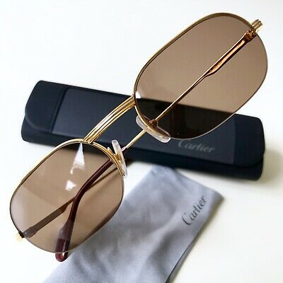 c9eb4181e5 vintage CARTIER ASCOT sunglasses half rim 22K gold plated MEDIUM 53/20 130  Must
