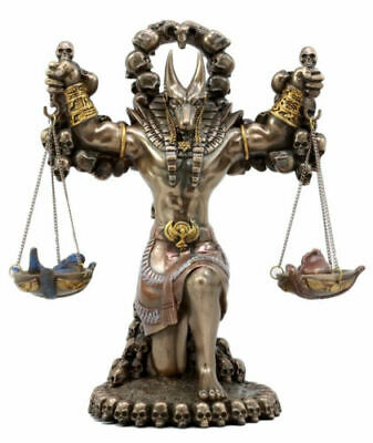 "Ebros Gift Egyptian God Anubis Carrying Justice Scales Burden By Ankh Altar 9"" H"