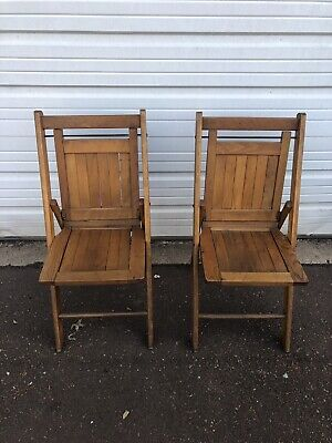 Vintage Pair Of Wooden Folding Chairs By The Standard MFG Co Mid Century Modern