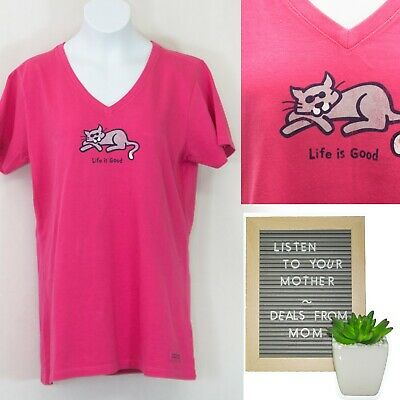 217f9a9f16558d NWT LIFE IS GOOD Cat Shirt Womens Small S Crusher Tee Classic Fit V Neck T
