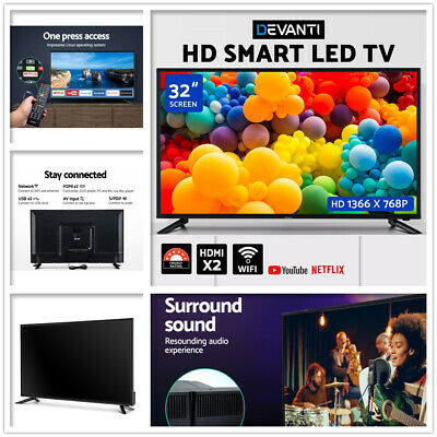 "DEVANTI 32"" Inch Smart LED TV Wifi HDMI USB HD LCD Slim Thin Screen Netflix 16:9"