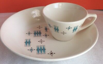 6+ RETRO Coffee/Tea CUPS + 6 Matching SAUCERS #60's #mod #COOL #VINTAGE STYLE ++