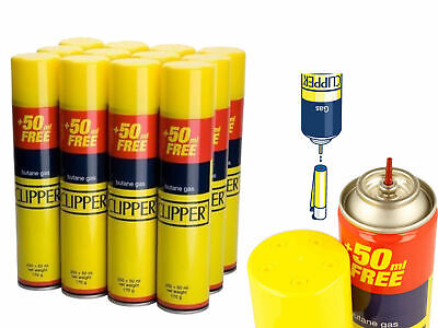 300ml CLIPPER GAS UNIVERSAL LIGHTER FUEL REFILL BUTANE BOTTLE PACK OF 1,2,4,6,12