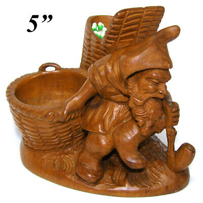 Antique Black Forest Carved Smoker's Match Stand, Figural Gnome with Pipe