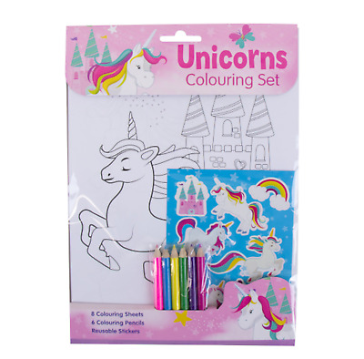 Unicorn Children's Colouring Set Stickers Pencils Draw Colouring Activity Sheet
