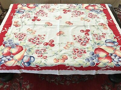 "Vtg Cotton Farmhouse Tablecloth 40s PRETTY Red Fruits & Flowers 45"" x 45"" XLNT!"