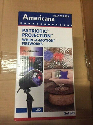 American Patriotic Projection LED Whirl-A-Motion Red White Blue Fireworks Gemmy