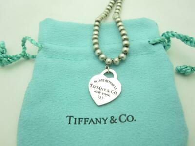"""Please Return To Tiffany & Co. Sterling Silver Heart Pendant Beaded Necklace 18"""""""