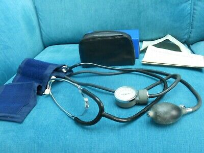 Vintage Blood Pressure Manual Aneroid Monitor Sphygmomanometer With Stethoscope