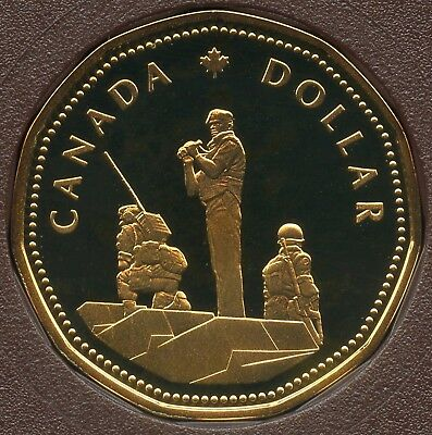 1995 Canada Frosted Proof 1 Dollar Loonie Coin (Peacekeeping Commemorative)