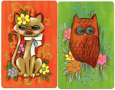 Vintage Swap/Playing Cards Owl And Cat Very Retro (New) Pair
