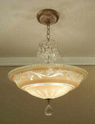 Vintage Chandelier 1940s ECRU Tan Pressed Glass Shade Ceiling Light Fixture 15""