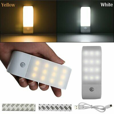 Rechargeable USB 12 LED PIR Motion Sensor Induction Night Light Lamp Cabinet New
