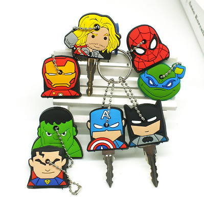 Cute Super Hero Anime Key Cover Cap Silic0ne Spiderman Batman Hulk Keychain Ring